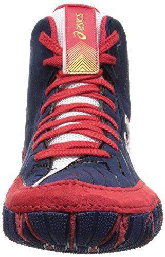 ASICS Men's Aggressor 3 Wrestling Shoe, Estate Blue/White/True Red, 10.5 M US