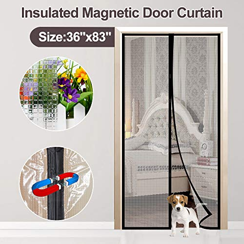 Transparent Magnetic Thermal Insulated Door Curtain Enjoy Your Cool Summer for Air Conditioning Room/Kitchen, Keeping Out Draft Cold Air Magnetic Screen Door Auto Closer Fits Doors up to 34 x 82Max
