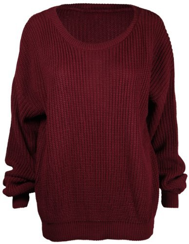 Purplehanger Womens Chunky Knitted Sweater Tops Jumper Burgundy 4 6