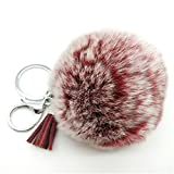 Fashion 8cm Frosted Cute Fluffy Rex Rabbit Fur pom pom with tassel keychain fur ball bag pendant (Frosted Maroon)