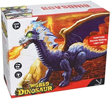Battery Operated Walking 40 x 45 x 23 Cm Electric Dinosaur Toy Roaring and Tail Wagging Robot Dinosaur Unique Style Endless Fun Blue Horns and Red Tongue Safe and Non-Toxic Material
