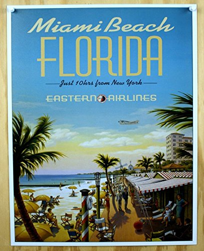 Miami Beach Florida Eastern Airlines Vintage Tin Sign Poster
