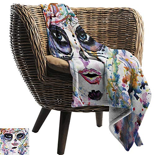 BelleAckerman Cool Blanket,Sugar Skull,Halloween Girl with Sugar Skull Makeup Watercolor Painting Style Creepy Look,Multicolor,for Bed & Couch Sofa Easy Care 30