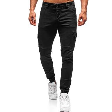 FRAUIT Pantalones para Hombre Multi-Bolsillos Color Sólido Chándal ...
