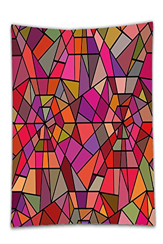 Interestlee Satin drill Tablecloth?Abstract Mosaic Style Stained Glass Fractal Colorful Geometric Triangle Forms Artful Image Multicolor Dining Room Kitchen Rectangular Table Cover Home (Texas Holdem Stained Glass)