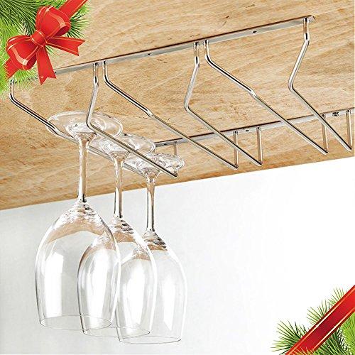 Wine Glass Holder Stemware Rack Under Cabinet Storage Organizer(3 Row) - 4
