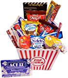 Movie Night Gift Basket Ultimate Care Package with Lots of Premium Candy Cookies Popcorn and Snacks in a Cool Retro Nostalgic Plastic Bucket & Kinayto