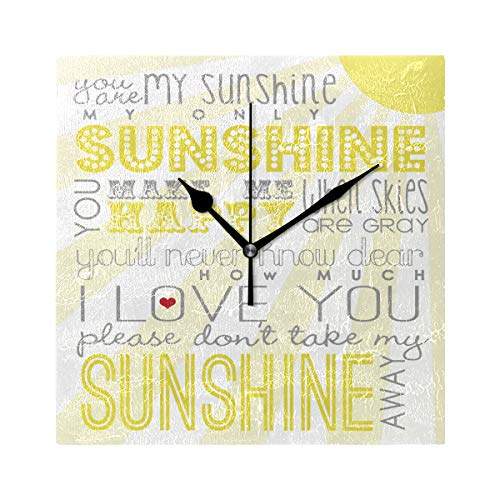 Ladninag Wall Clock You are My Sunshine Personalized Silent Non Ticking Decorative Square Digital Clocks Indoor Outdoor Kitchen Bedroom Living Room ()