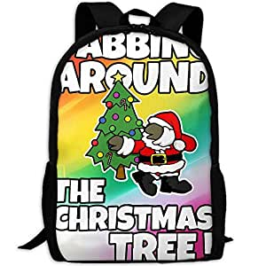 LKZD Dabbing Around The Christmas Tree Unisex Fashion Backpack Casual Daypack