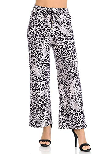(Auliné Collection Womens High Waisted Loose Wide Leg Drawstring Palazzo Pants - Light Pink Leopard S/M)