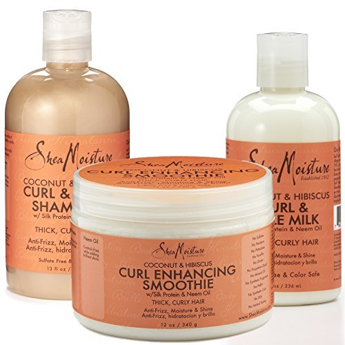 Curl Moisture (Shea Moisture Coconut and Hibiscus Combination Pack- 12 oz. Curl Enhancing Smoothie, 8 oz Curl Style Milk & 13 oz)