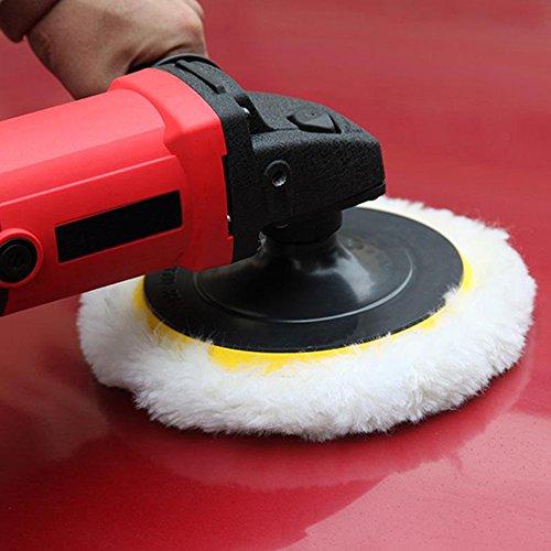 Coceca 7pcs 6'' Polishing Pad Kit, Sponge and Wool Polishing Pad Set with M14 Drill Adapter by Coceca (Image #5)