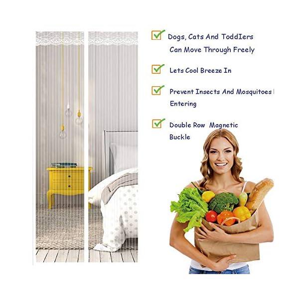 Zanzariera Magnetica per Porte, Ventilazione Anti-zanzara Muta Bianca Velcro Tenda Porta Adatto per Balcone Soggiorno… 3 spesavip