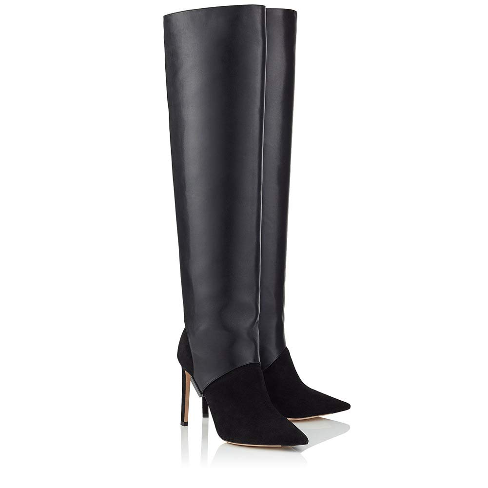 GONGFF Over The Knee Stiefel Abnehmbare Abnehmbare Abnehmbare Große Bein Stiefel Stiletto High Heels Reißverschluss Stiefel 183413