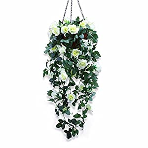 XHSP Artificial Rose Vine Silk Flower Garland Hanging Basket Decorative Plant Home Outdoor Wedding Arch Garden Wall Decor 42