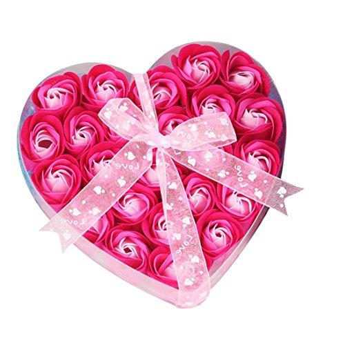 Besde 24Pcs Scented Rose Flower Petal Bath Body Soap Wedding