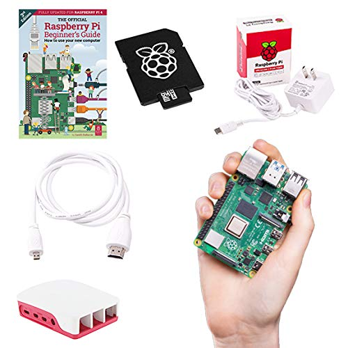 Raspberry Pi 4B 8GB RAM 32GB Storage Official Essentials Starter Kit with 32GB Noobs Micro SD Card, Pi 4 Case, HDMI to Micro HDMI Cable, 15W USB-C Power Supply and Beginners Guide (8GB RAM)