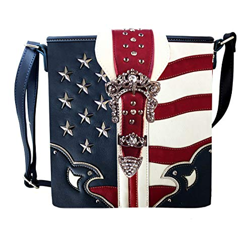 Body Blue Blue Womens Inches 9 2 And Cross X Rhinestone Bags White Red Crossbody 75 Vinyl 5 Striped 5 X And Stars 10 Buckle Bag SEvqv
