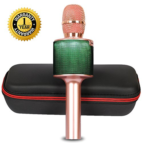 Karaoke Microphone Wireless Bluetooth Microphone for Kids Adults Family Duet Singing with LED Lights Portable Karaoke Machine Singing Home KTV Party for iPhone Android iPad PC (Rose Gold) by Rhllxzo