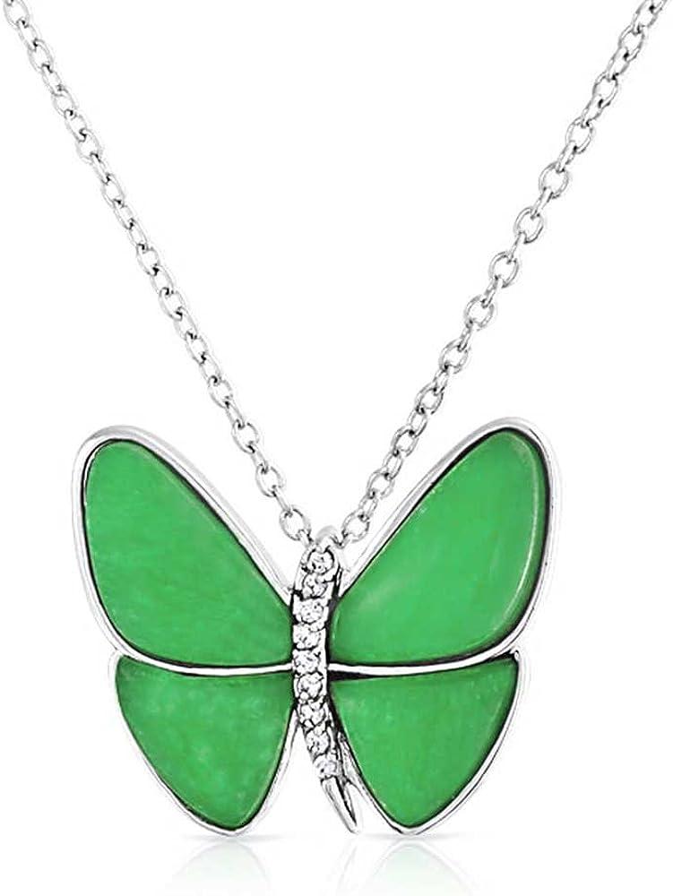 Bling Jewelry Mariposa Teñido De Verde Jade 925 Plata De Ley 925 Jardín Colgante Collar De Mujer para Novia con Cadena
