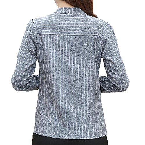 XGMSD Mujer V-cuello De La Camisa Atractiva De Las Rayas Camisa Sping Grey