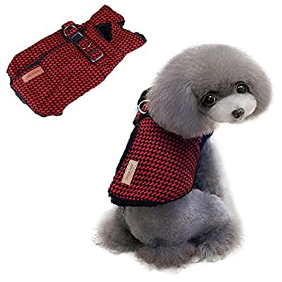 Thick Warm Cold Weather Winter Clothes Fleece Plaid Vest For Boys Girls Puppy Cats-Nova with Furry Collar red M & L