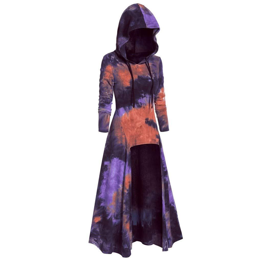 Shusuen Women's Vintage Hooded Trench Coat Gothic High Low Irregular Hem Overcoat Colorblock Cloak by Shusuen_Clothes