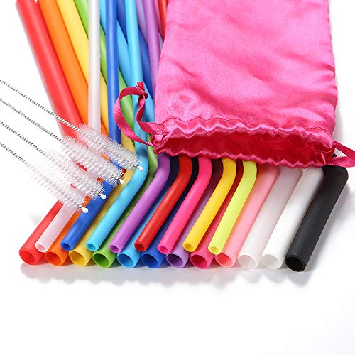 Reusable Silicone Straws, 25 Pcs, Long Flexible Straws Fit to 30&20 OZ Tumblers, Including 12 Wide Straws + 8 Thin Straws + 4 Cleaning Brushes +1 Claret Red Pouch(Bpa-free)