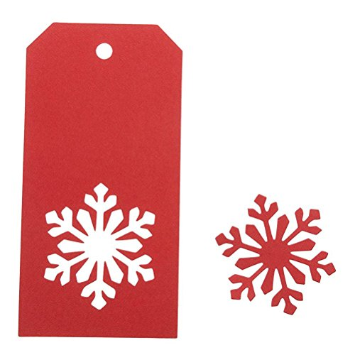 Snowflake Gift Tag - 100 PCS Kraft Paper Price Tags Labels Christmas Gift Tags Christmas Snowflake Hanging Tag with String Rectangle Craft Hang Tags Favor Gift Tags Red