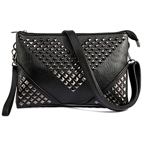 Elegant Daily Casual Clutch Bag Purse For Women 2018, Stud Rivet Womens Leather Party Wristlet Shoulder Handbag Black Clutch Purses for Women