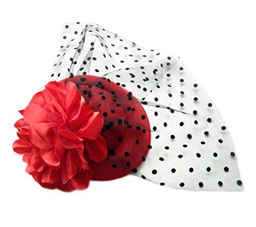 Big Red Hair Costume (Fascinator Hair Clip Head Hoop Veil Wool Flower Hat Derby Cocktail Party Wedding Purple Red)