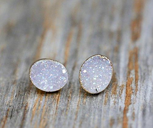 - White Lilac Oval Druzy Stud Earring- Real Druzy Quartz Gemstone- 9 x 10mm