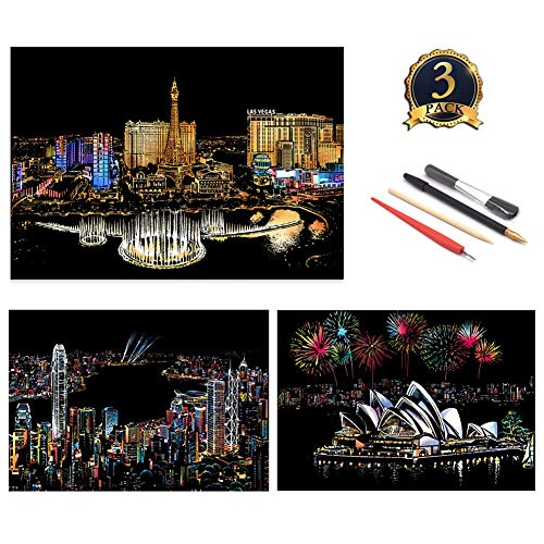 - UPSTONE Scratch Art Paper Rainbow Painting Sketch Pad DIY Night View Scratchboard for Adults and Kids - 3Packs, 16 X 11.5 Inches (Las Vegas&Victoria Harbour&Sydney Opera House)