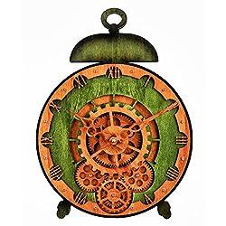 Kintrot Moving Gear Clock 3D Large Wall Clock Desk Clock Decorative Classic Retro Wooden Clock Bell-Shaped