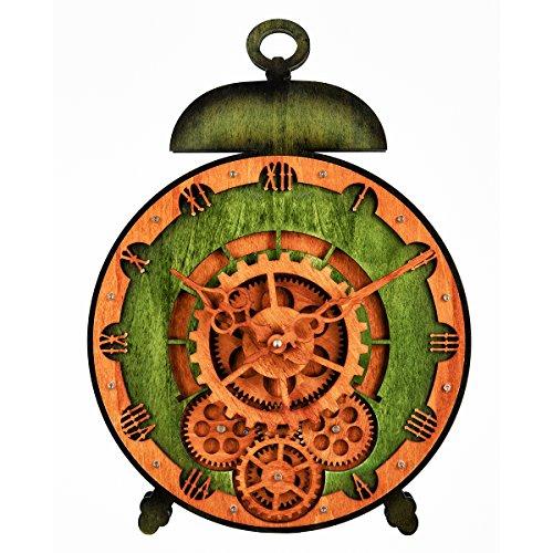 3D Moving Gear Clock, Kintrot Wall Clock Gear Home Wooden Decorative Wall Clock Desk Clock