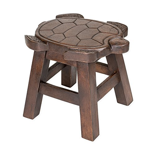 Turtle Stain Design Hand Carved Acacia Hardwood Decorative Short Stool