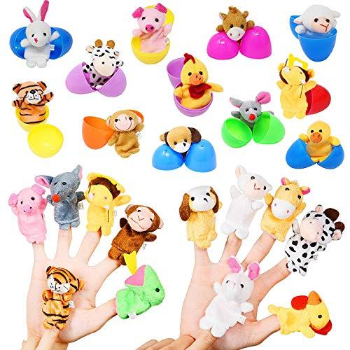 Easter Eggs Filled with Mini Stuffed Animal Finger Puppets Plush Toys, Kids Easter Party Favor Birthday Party Basket School Classroom Rewards, Easter Egg Hunt Filler Stuffer 12 Pack ()