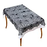 Ofocam 54'' X 72'' Halloween Party Decoration Cobweb Tablecloth Lace Spiderweb Table Runner Liner Home Decor Props