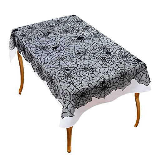 Ofocam 54'' X 72'' Halloween Party Decoration Cobweb Tablecloth Lace Spiderweb Table Runner Liner Home Decor Props by Ofocam