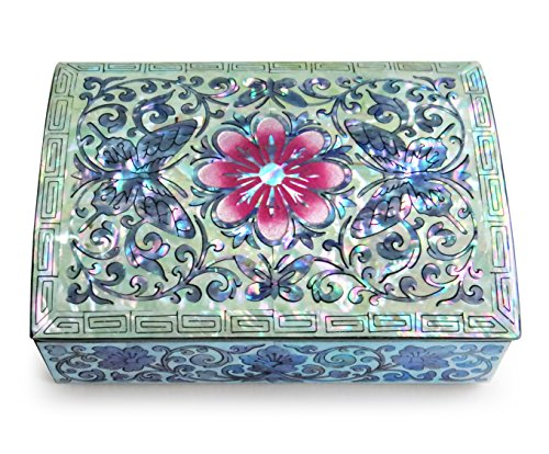 Jewelry Trinket Box Mother of Pearl Inlay Small Wood Lacquered Butterflies Flower