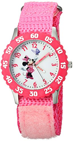 (Disney Girls' W000025 Minnie Mouse Watch with Pink Nylon Band )