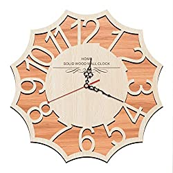 Clock, Silent Wooden Round Wall Clock - Arabic Digital Design Retro Clock - Modern Home Living Room Wall Clock Decoration (Size: 16 Inches)