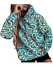 acction Hoodies for Women Pullover Plus Size Casual Printed Long Sleeve Hooded Tops Sweatshirt