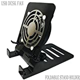 Desk USB Fan Air Circulator Fan USB Table Desk Portable Fan,Small Personal USB Fan Smartphones Stand Holder Cell Phone Stand Holder Cooling Cooler Fan Cooling Pad Radiator Foldable Stand Holder(Black)