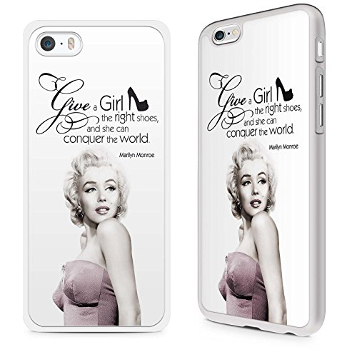 Gadget Zoo® Famous Quote Motivational Saying Marilyn Monroe'Give a girl the right shoes' Funny Phone Case Hard Cover For iPhone 6 / 6s White
