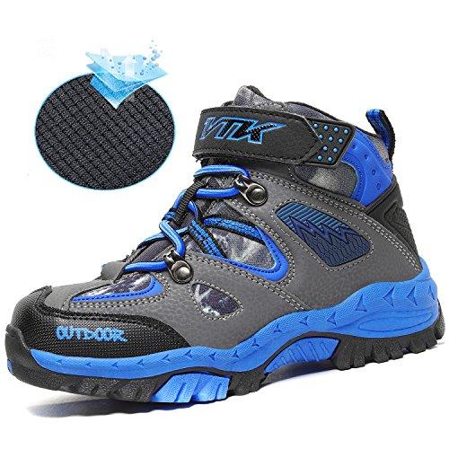 Ashion Kids Scarpe Da Trekking Walking Snow Boots Antiscivolo In Acciaio Fibbia Suola Impermeabile Invernale Outdoor Arrampicata Sneaker In Cotone 1-blu-sottile