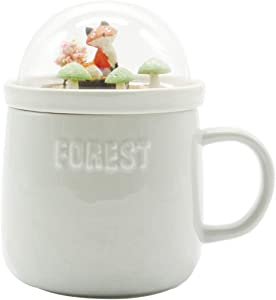 Bewaltz Novelty Globe Mug Original Ceramic Coffee Tea Mug with beautifully made 3D miniature globe lid, 15 oz, Great for hot or cold drinks, Party Gifts, Birthday Gifts (Gray with Fox Scene)