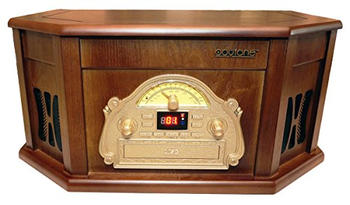 Boytone BT-25MB 8-in-1 Natural Wood Classic Turntable Stereo System with Bluetooth Connection, Vinyl Record Player, AM/FM, CD, Cassette, USB, SD Slot. 2 Built-in Speakers, Remote Control, MP3 Player 5