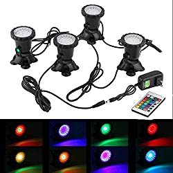 iMeshbean® Set of 4 144 LEDs Colorful Underwater Garden Fountain Fish Tank Pool Pond Spot Light Submersible Decoration Color Changing Lamp + 24 Key Remote