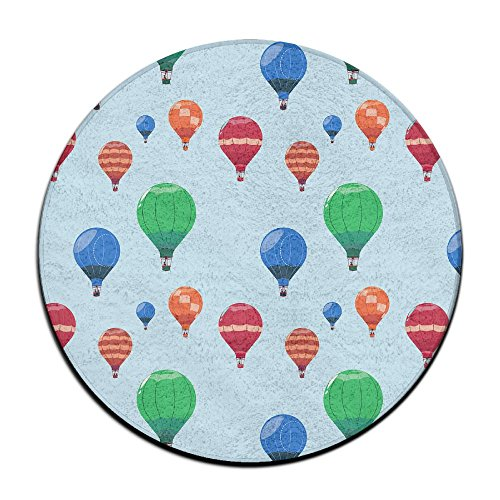 Velvet Hot Tub - BINGOING Mat Colorful Hot Air Balloon Soft Coral Velvet Circular General Purpose Floor Mat Or Rug Use In Front Of Bedroom, Kitchen,Vanity, Bath Tub, Living Room And Toilet